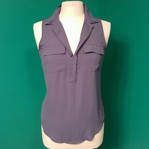 Loft blue xs blue sleeveless blouse